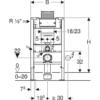 Kép 3/4 - Geberit Duofix fali WC szerelőelem, 82 cm, Omega 12 cm-es falsík alatti öblítőtartállyal (111003001)