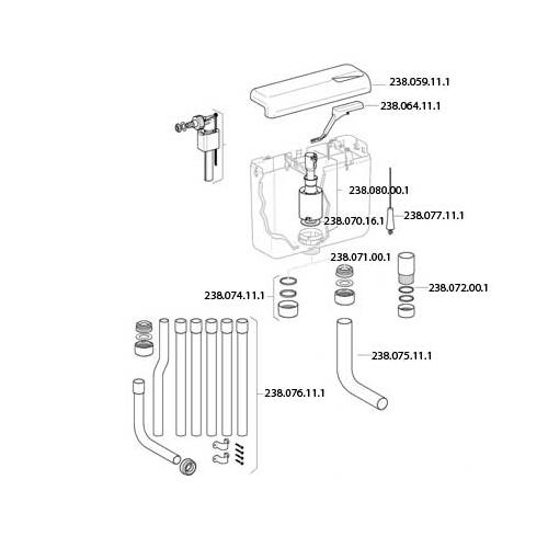 Geberit AP112 fehér WC tartályhoz nyomógomb 238064111