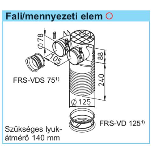 Helios FRS-DWK 2-75/125 FlexPipe plus rendszer, mennyezeti csatlakozó