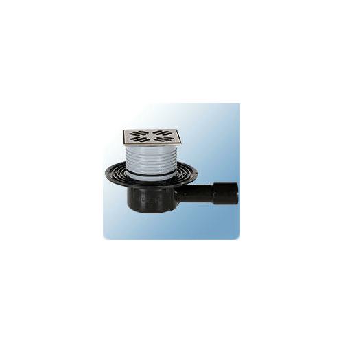 Sifone HL Ablaufe HL padlószifon DN40/50 + vízszintes kimenet, szigetelő karima, Primus bűzzár, 123x123mm/115x115mm acél rács HL510Npr